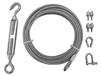 Wire set, 10 m x 4 mm, tensioner, thimbles, lock (galv.)