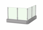 Glass railing: Complete square post with end cap, top