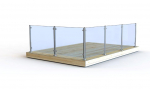 Glass railing: Complete round post with end cap, top