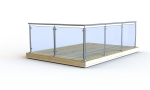 Glass railing: Complete round post with top fitting, top