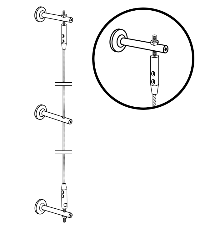 Illustration of wall trellis with wall brackets